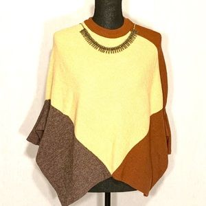 🥔 Marc New York Mustard Brown Poncho w/Sleeves S
